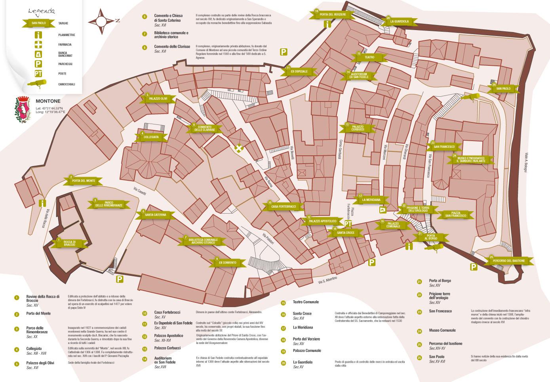 Mappa centro storico del borgo di Montone in Umbria