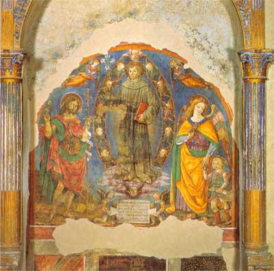 bartolomeo caporali Sant'Antonio di Padova tra quattro angeli, San Giovanni Battista, l'Arcangelo Raffaele e Tobiolo montone in