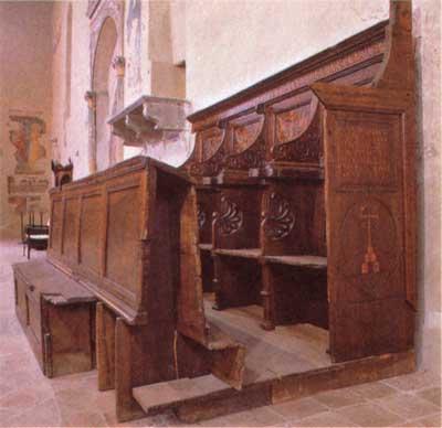 intagliatore XVI secolo Bancone dei Magistrati montone in