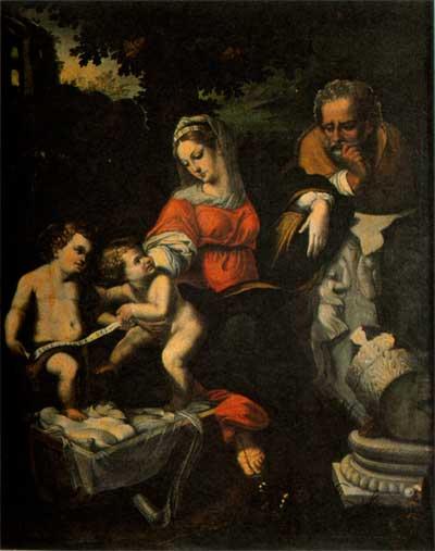 pittore XVII Sacra famiglia con San Giovannino montone in