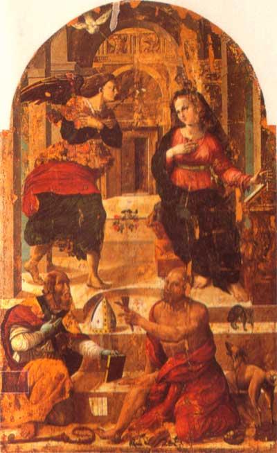 tommaso arcangelo Annunciazione e i santi Fedele e Lazzaro montone in