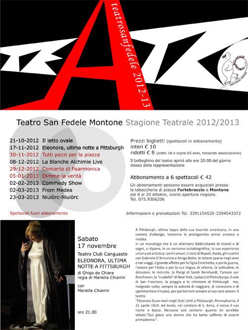programma stagione teatrale sanfedele montone 2012 2013 montonein